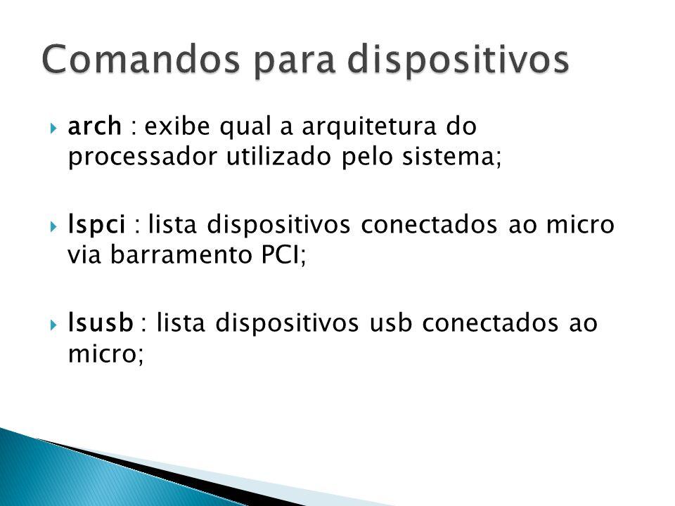  df : exibe o espaço em memória utilizado pelos dispositivos montados no sistema Linux;  du -h [caminho-pasta] : exibe o espaço em disco usado em bytes pela pasta do sistema;  diff [arquivo1] [arquivo2] : exibe as diferenças existentes entre dois arquivos-textos especificados;  free : exibe o espaço livre em memória no sistema Linux;  netstat –ta : exibe, em tempo real, as estatísticas de rede de todas as conexões TCP;