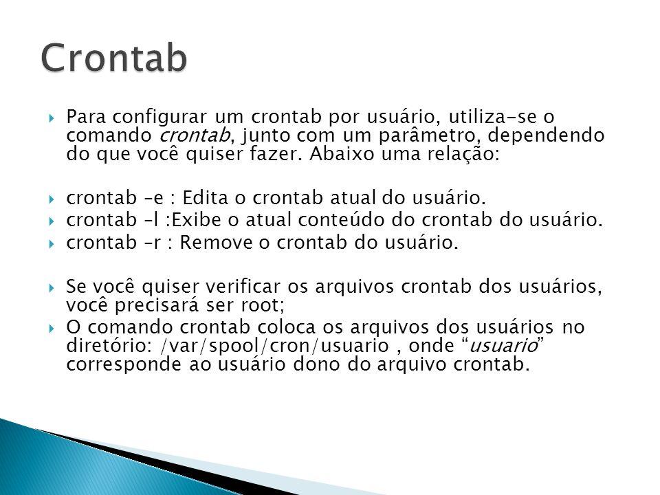  O crontab geral do sistema fica no arquivo /etc/crontab e só pode ser manipulado pelo root;  Exemplo: 0 4 * * * who