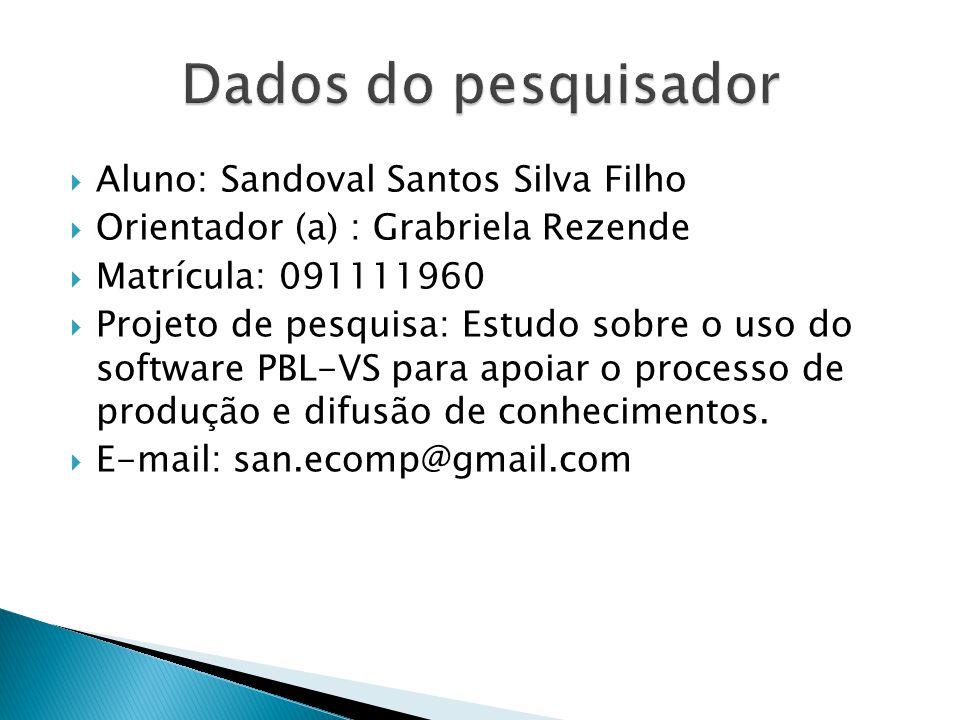  Aluno: Sandoval Santos Silva Filho  Orientador (a) : Grabriela Rezende  Matrícula: 091111960  Projeto de pesquisa: Estudo sobre o uso do software