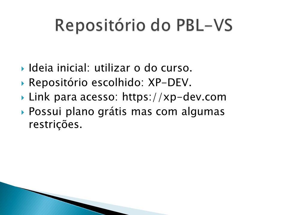  Ideia inicial: utilizar o do curso.  Repositório escolhido: XP-DEV.  Link para acesso: https://xp-dev.com  Possui plano grátis mas com algumas re