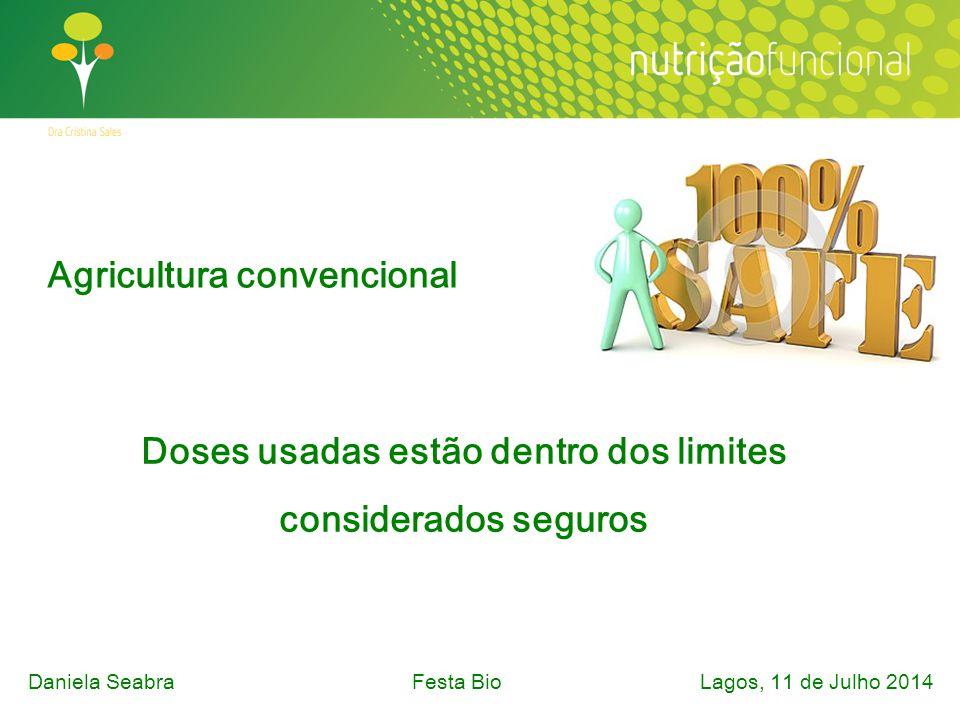 Agricultura convencional Doses usadas estão dentro dos limites considerados seguros Daniela SeabraFesta Bio Lagos, 11 de Julho 2014