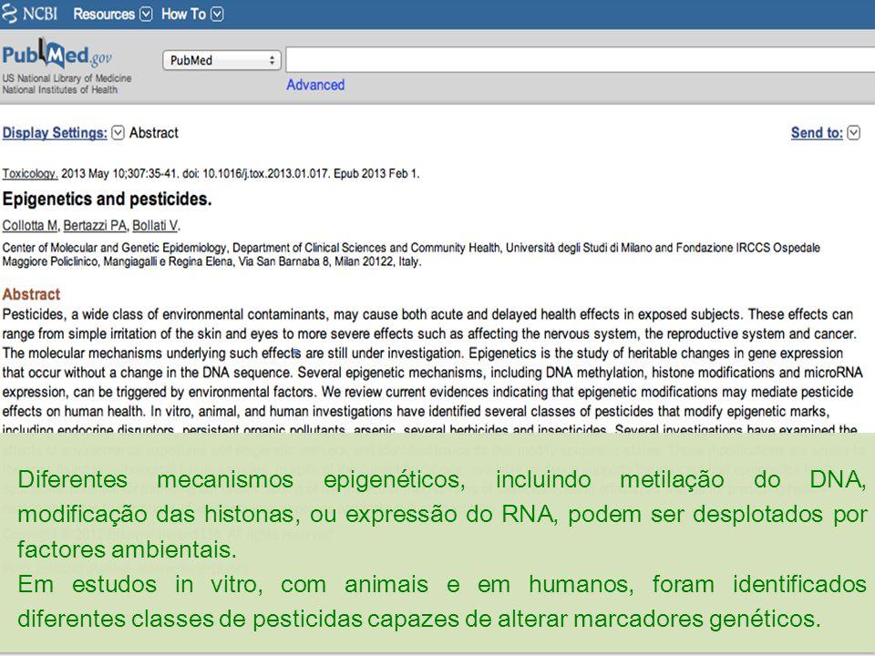 Diferentes mecanismos epigenéticos, incluindo metilação do DNA, modificação das histonas, ou expressão do RNA, podem ser desplotados por factores ambi