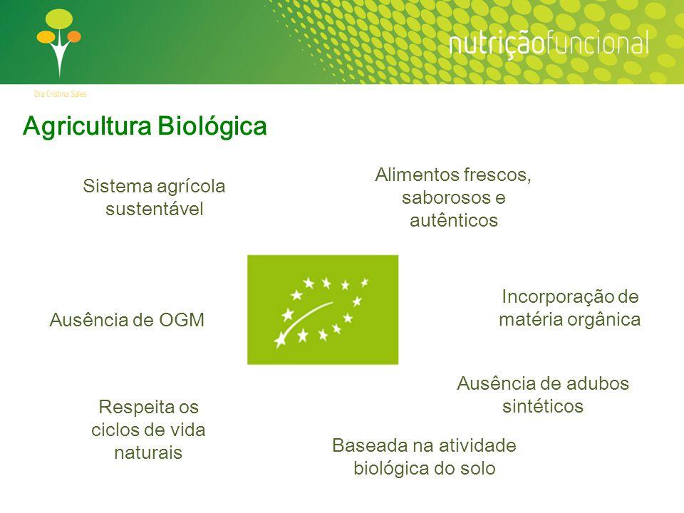 Sistema agrícola sustentável Agricultura Biológica Alimentos frescos, saborosos e autênticos Respeita os ciclos de vida naturais Baseada na atividade