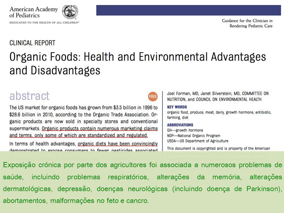 Exposição crónica por parte dos agricultores foi associada a numerosos problemas de saúde, incluindo problemas respiratórios, alterações da memória, a