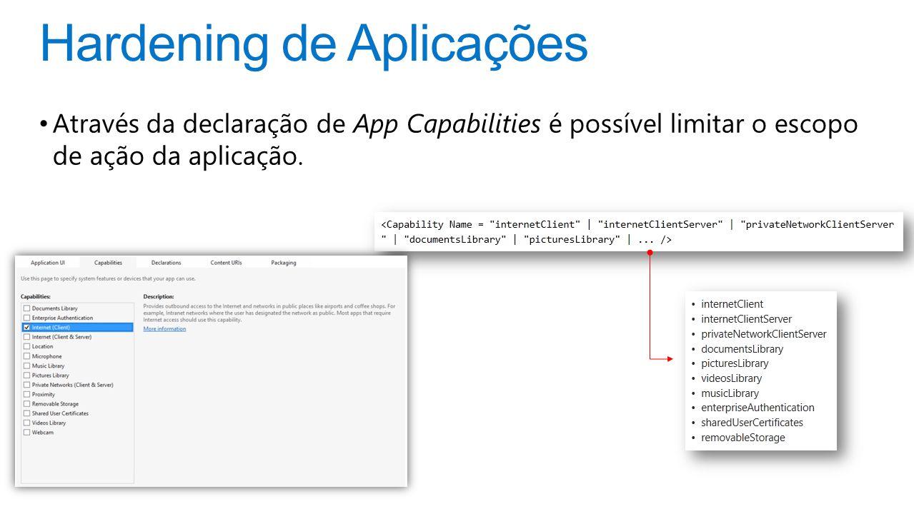 Hardening de Aplicações Através da declaração de App Capabilities é possível limitar o escopo de ação da aplicação.