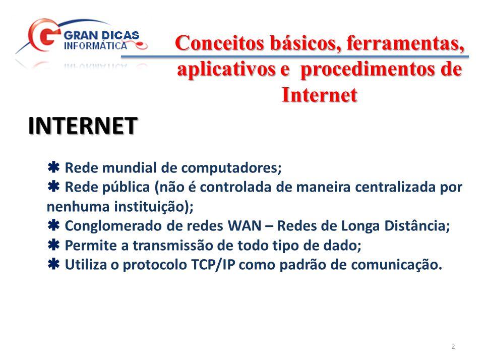 Conceitos básicos, ferramentas, aplicativos e procedimentos de Internet 3 ATENÇÃO .