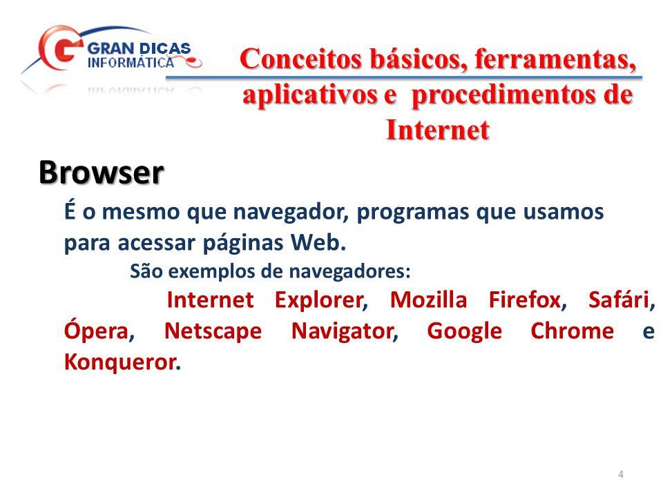 Conceitos básicos, ferramentas, aplicativos e procedimentos de Internet 5 Protocolo Conjunto de regras que padronizam comunicação entre os computadores que compõem uma rede.