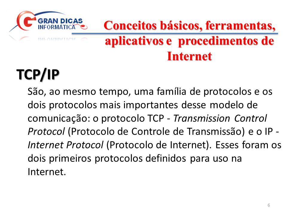 Conceitos básicos, ferramentas, aplicativos e procedimentos de Internet 7 Família TCP/IP São vários os protocolos que integram a família TCP/IP cada qual com uma função específica a ser desempenhada.