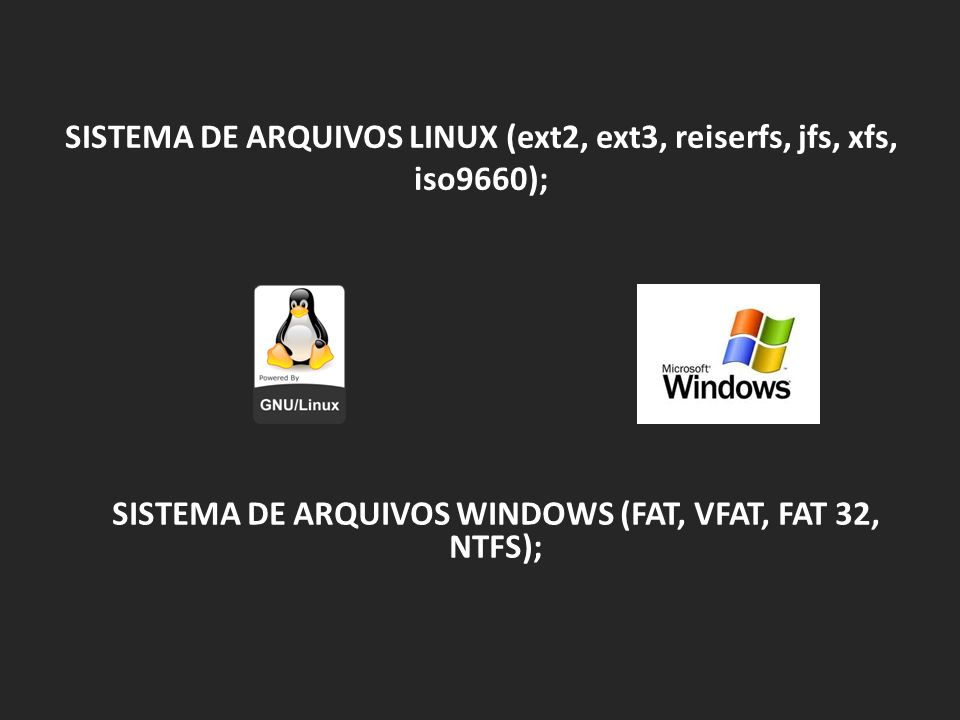 SISTEMA DE ARQUIVOS LINUX (ext2, ext3, reiserfs, jfs, xfs, iso9660); SISTEMA DE ARQUIVOS WINDOWS (FAT, VFAT, FAT 32, NTFS);