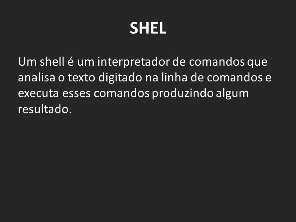 SHEL Um shell é um interpretador de comandos que analisa o texto digitado na linha de comandos e executa esses comandos produzindo algum resultado.