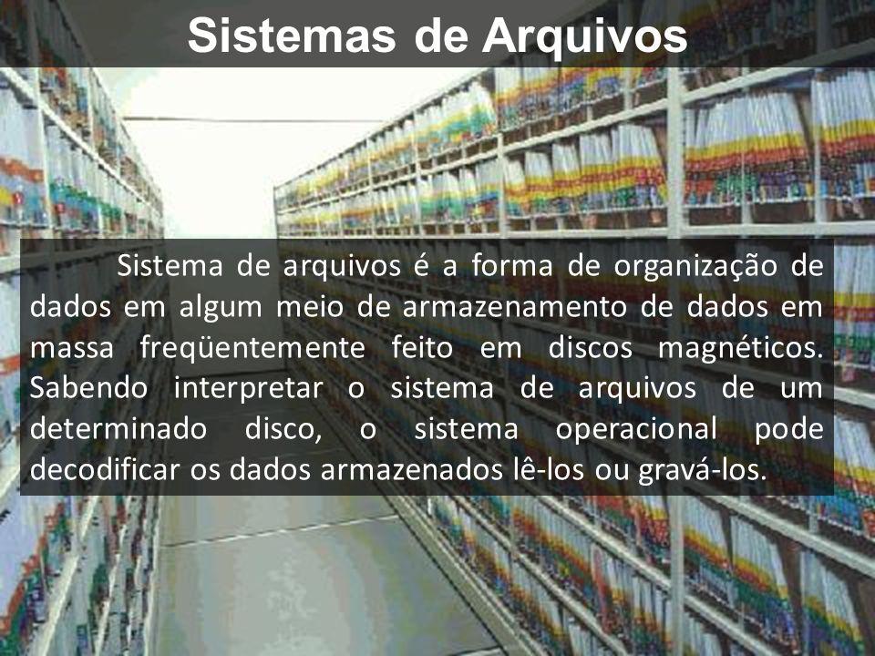 Sistemas de Arquivos Sistema de arquivos é a forma de organização de dados em algum meio de armazenamento de dados em massa freqüentemente feito em discos magnéticos.