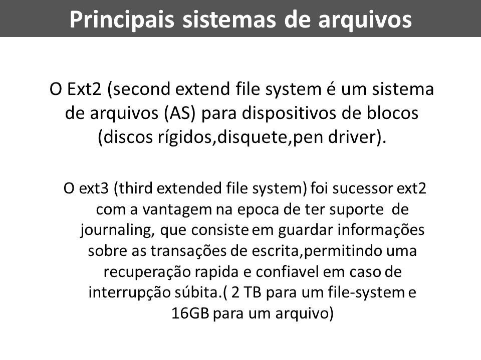 O Ext2 (second extend file system é um sistema de arquivos (AS) para dispositivos de blocos (discos rígidos,disquete,pen driver). O ext3 (third extend
