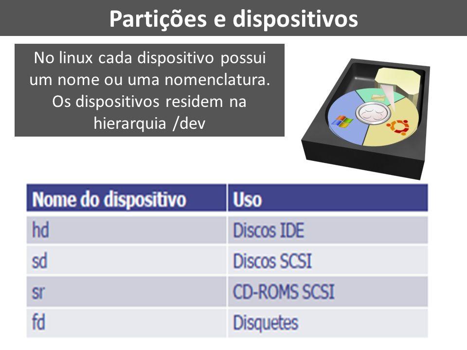 Partições e dispositivos No linux cada dispositivo possui um nome ou uma nomenclatura. Os dispositivos residem na hierarquia /dev