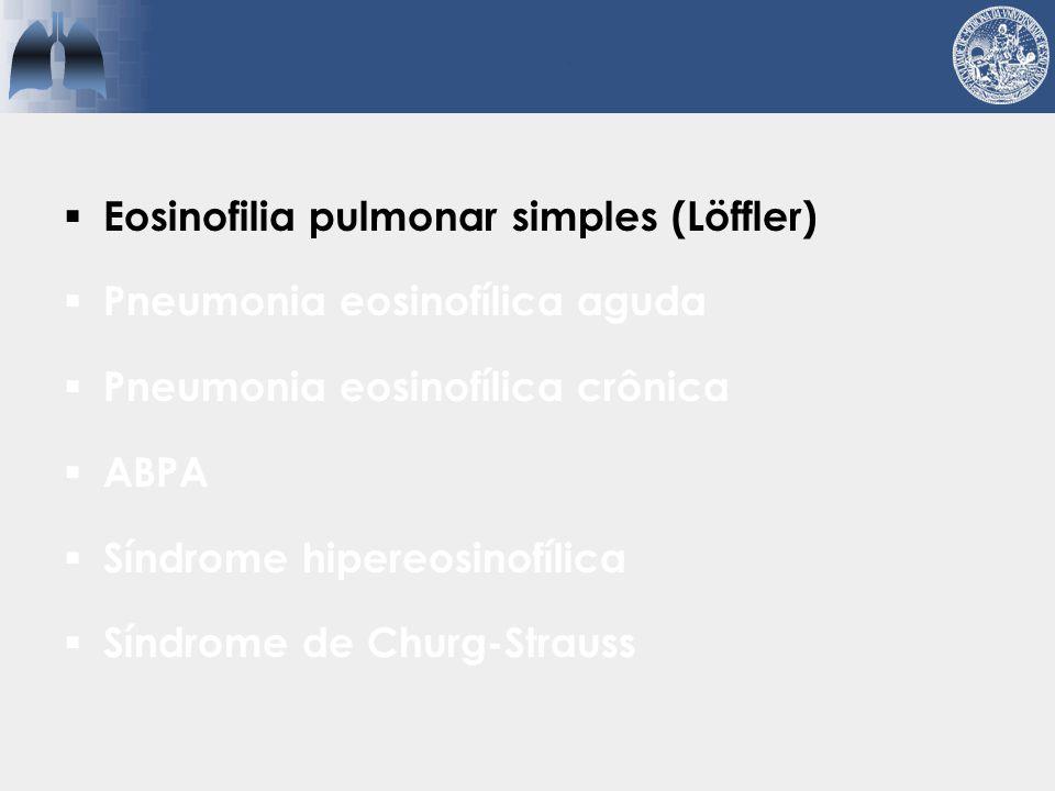 Síndrome de Löffler  Idiopática ou relacionada a drogas/parasitas  Opacidades pulmonares migratórias  Pouco ou nenhum sintomas  Autolimitada (< 30 dias)  Positividade tardia do PPF  Tratamento da causa de base