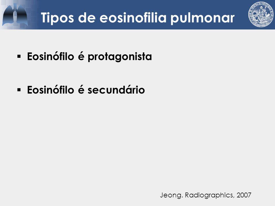 Tipos de eosinofilia pulmonar  Eosinófilo é protagonista  Eosinófilo é secundário  Eosinófilo está presente, mas não tem patogênese significante Jeong.
