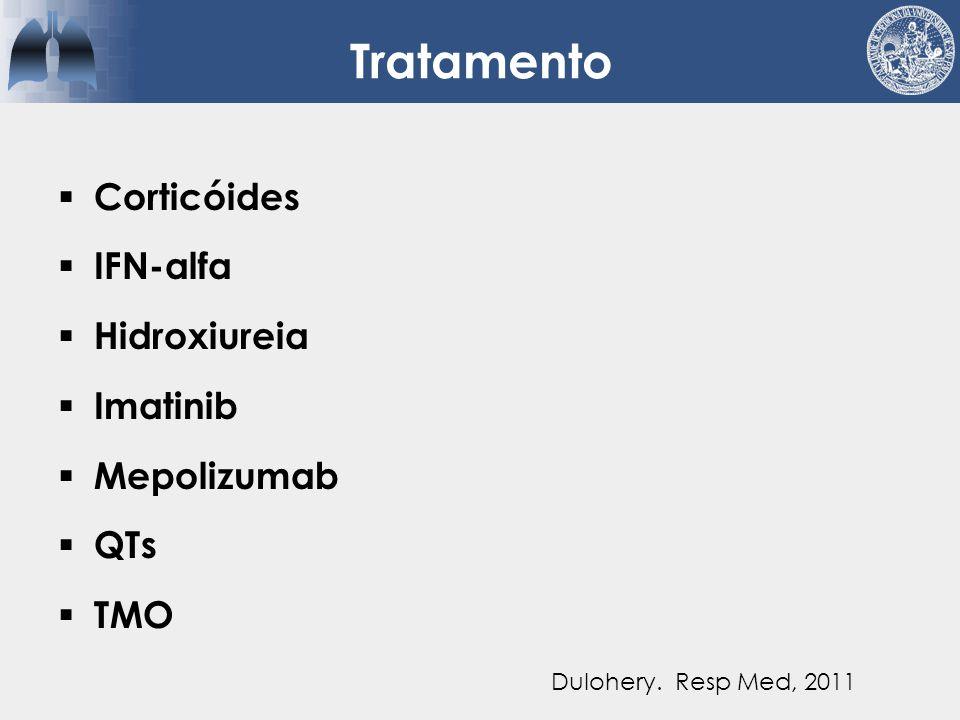  Eosinofilia pulmonar simples (Löffler)  Pneumonia eosinofílica aguda  Pneumonia eosinofílica crônica  ABPA  Síndrome hipereosinofílica  Síndrome de Churg-Strauss