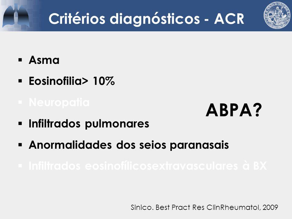 Critérios diagnósticos - ACR  Asma  Eosinofilia> 10%  Neuropatia  Infiltrados pulmonares  Anormalidades dos seios paranasais  Infiltrados eosinofílicosextravasculares à BX Wechsler.