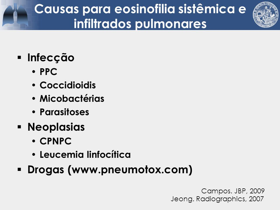Tipos de eosinofilia pulmonar  Eosinófilo é protagonista  Eosinófilo é secundário  Eosinófilo está presente, mas não tem patogênese significante (até onde saibamos) Jeong.