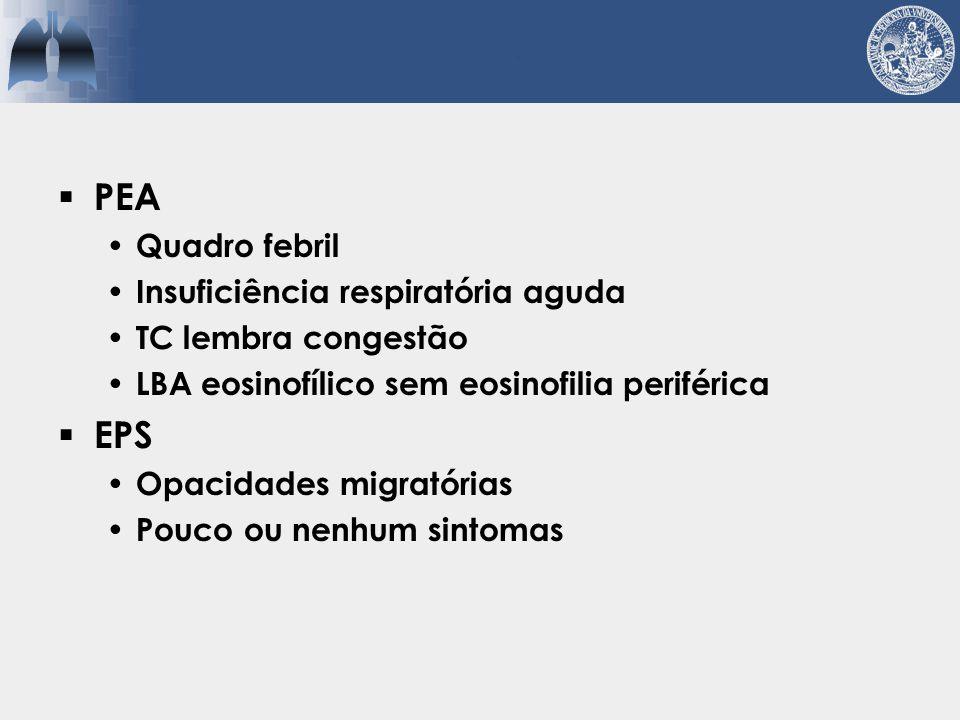 Asma Conso- lidação Doença pulmonar PEC