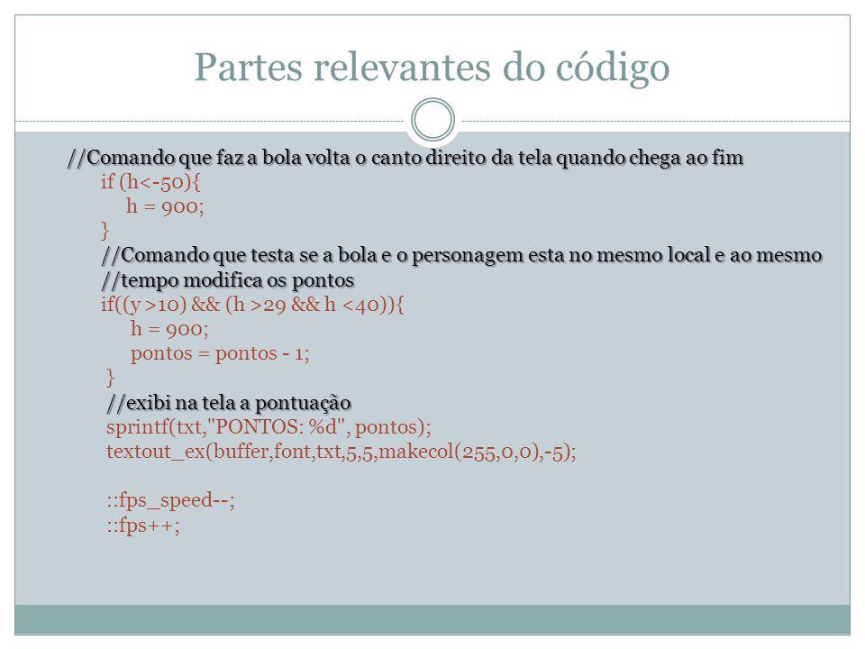 Partes relevantes do código //Comando que faz a bola volta o canto direito da tela quando chega ao fim if (h<-50){ h = 900; } //Comando que testa se a