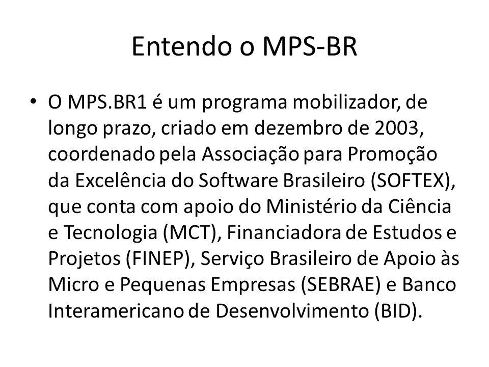 Entendo o MPS-BR O MPS.BR1 é um programa mobilizador, de longo prazo, criado em dezembro de 2003, coordenado pela Associação para Promoção da Excelência do Software Brasileiro (SOFTEX), que conta com apoio do Ministério da Ciência e Tecnologia (MCT), Financiadora de Estudos e Projetos (FINEP), Serviço Brasileiro de Apoio às Micro e Pequenas Empresas (SEBRAE) e Banco Interamericano de Desenvolvimento (BID).
