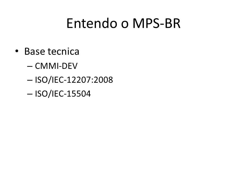 Entendo o MPS-BR Base tecnica – CMMI-DEV – ISO/IEC-12207:2008 – ISO/IEC-15504