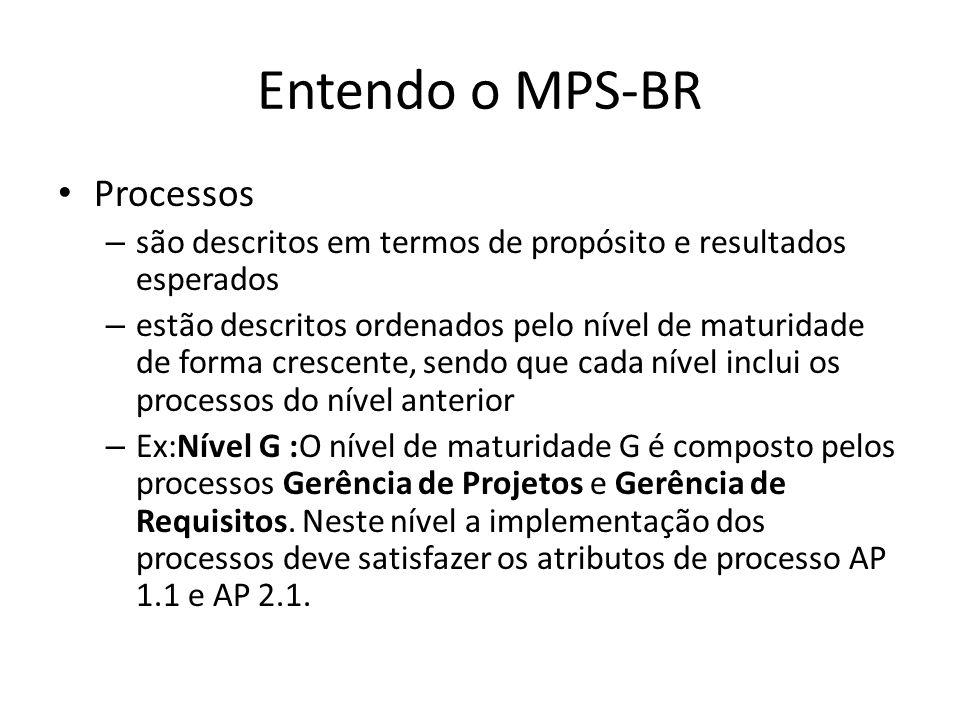 Entendo o MPS-BR Processos – são descritos em termos de propósito e resultados esperados – estão descritos ordenados pelo nível de maturidade de forma crescente, sendo que cada nível inclui os processos do nível anterior – Ex:Nível G :O nível de maturidade G é composto pelos processos Gerência de Projetos e Gerência de Requisitos.