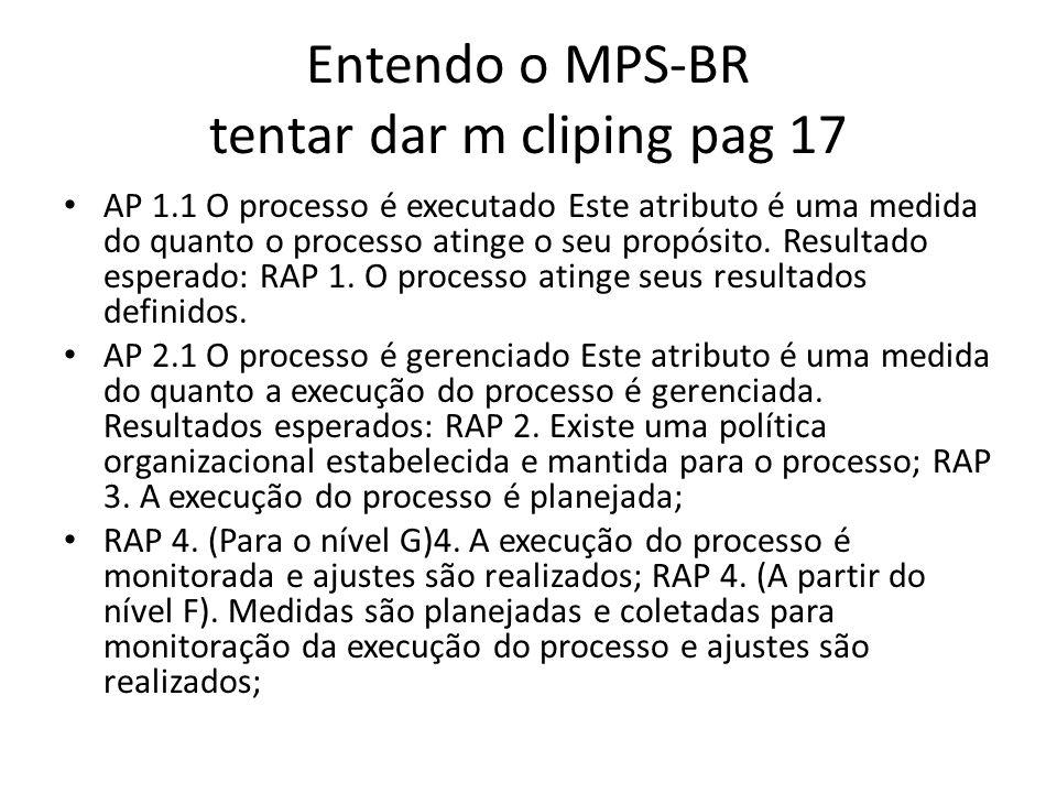 Entendo o MPS-BR tentar dar m cliping pag 17 AP 1.1 O processo é executado Este atributo é uma medida do quanto o processo atinge o seu propósito.