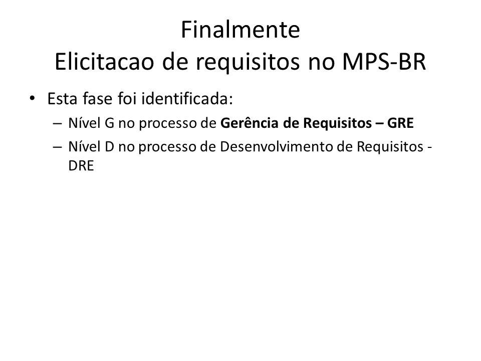 Finalmente Elicitacao de requisitos no MPS-BR Esta fase foi identificada: – Nível G no processo de Gerência de Requisitos – GRE – Nível D no processo de Desenvolvimento de Requisitos - DRE