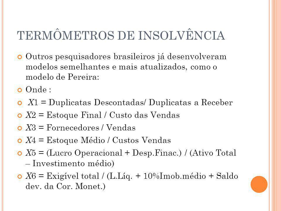 TERMÔMETROS DE INSOLVÊNCIA Outros pesquisadores brasileiros já desenvolveram modelos semelhantes e mais atualizados, como o modelo de Pereira: Onde :