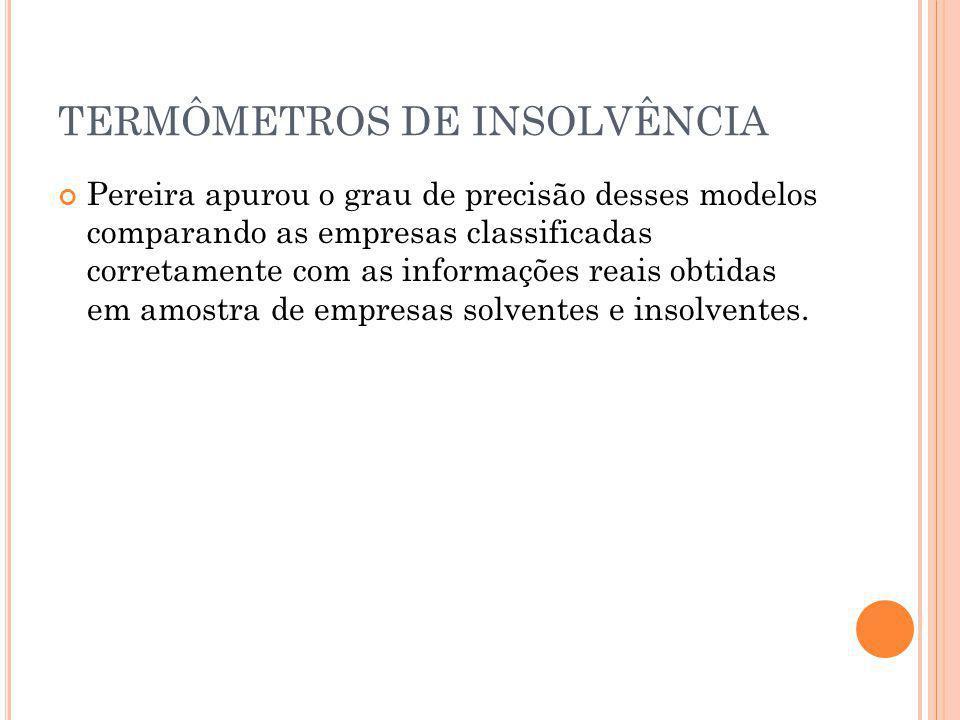 TERMÔMETROS DE INSOLVÊNCIA Pereira apurou o grau de precisão desses modelos comparando as empresas classificadas corretamente com as informações reais