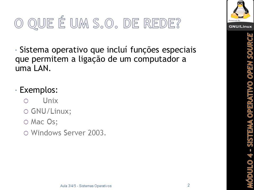  Sistema operativo de rede, livremente distribuído e open source que funciona em várias plataformas;  O kernel (núcleo) utilizado pela maioria dos SOs GNU é o Linux;  GNU:  GNU is Not Unix.
