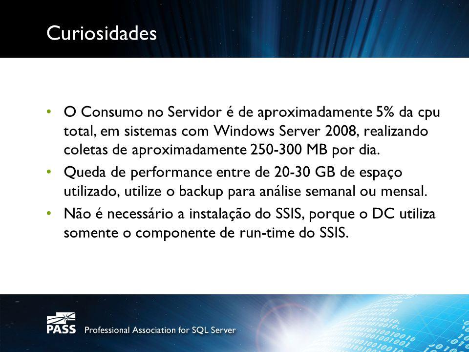Curiosidades O Consumo no Servidor é de aproximadamente 5% da cpu total, em sistemas com Windows Server 2008, realizando coletas de aproximadamente 250-300 MB por dia.