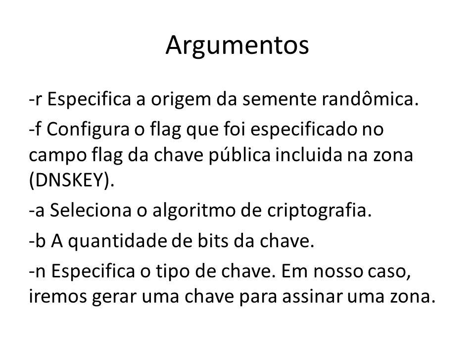 Argumentos -r Especifica a origem da semente randômica. -f Configura o flag que foi especificado no campo flag da chave pública incluida na zona (DNSK