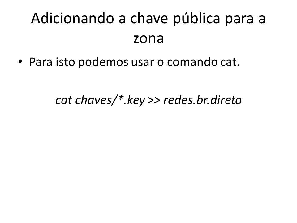 Adicionando a chave pública para a zona Para isto podemos usar o comando cat. cat chaves/*.key >> redes.br.direto