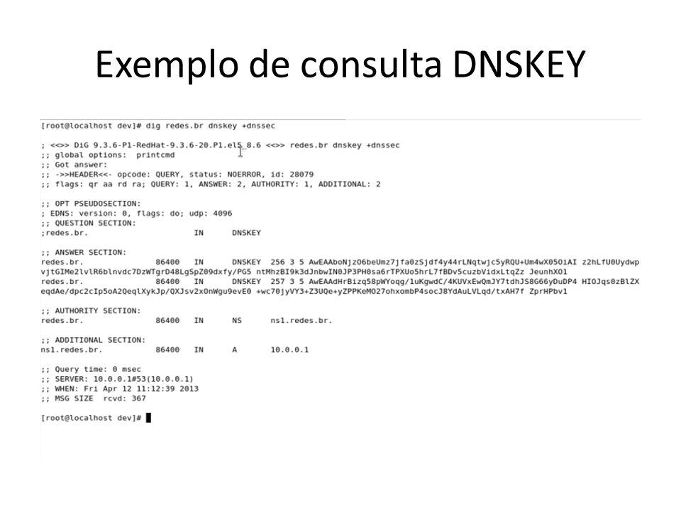RRSIG É a assinatura de um RRset específico com uma determinada chave (DNSKEY).