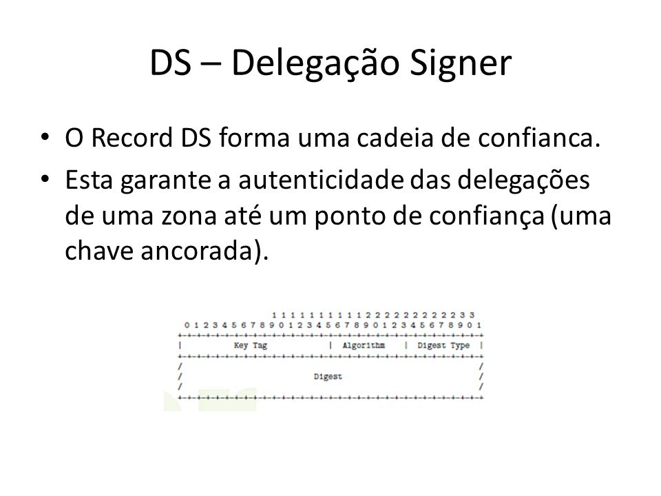 DS – Delegação Signer O Record DS forma uma cadeia de confianca. Esta garante a autenticidade das delegações de uma zona até um ponto de confiança (um