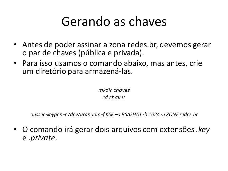 Gerando as chaves Antes de poder assinar a zona redes.br, devemos gerar o par de chaves (pública e privada). Para isso usamos o comando abaixo, mas an