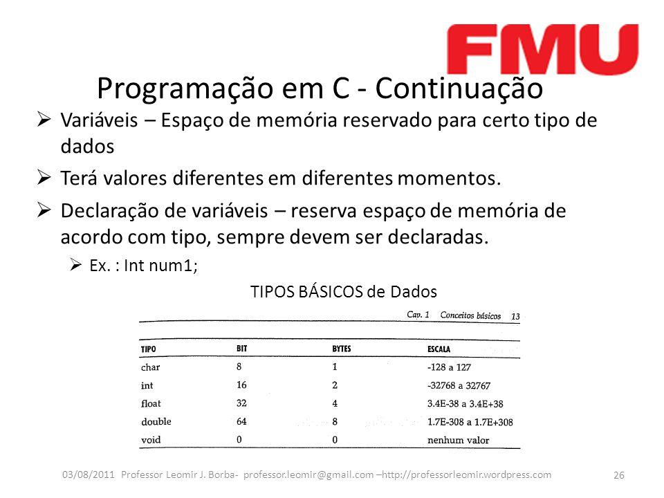 Programação em C - Continuação  Variáveis – Espaço de memória reservado para certo tipo de dados  Terá valores diferentes em diferentes momentos. 