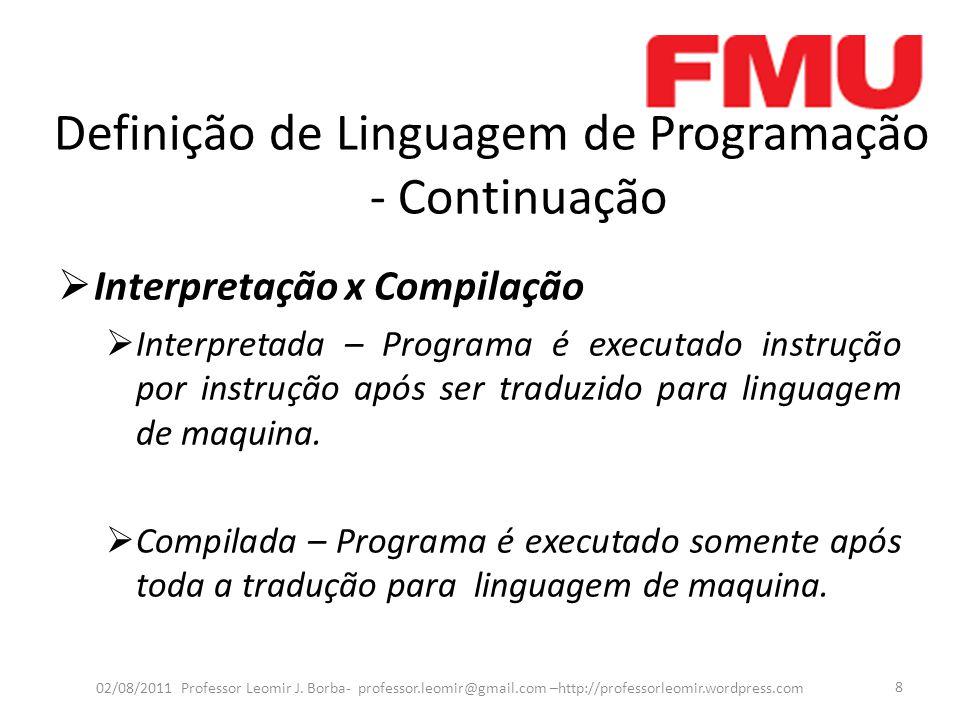 Definição de Linguagem de Programação - Continuação  Interpretação x Compilação - Continuação 02/08/2011 Professor Leomir J.