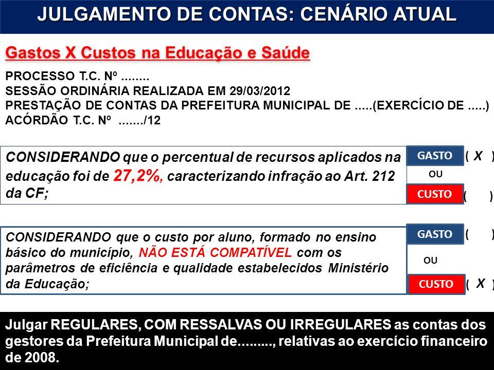 10 Gastos X Custos na Educação e Saúde JULGAMENTO DE CONTAS: CENÁRIO ATUAL PROCESSO T.C. Nº........ SESSÃO ORDINÁRIA REALIZADA EM 29/03/2012 PRESTAÇÃO