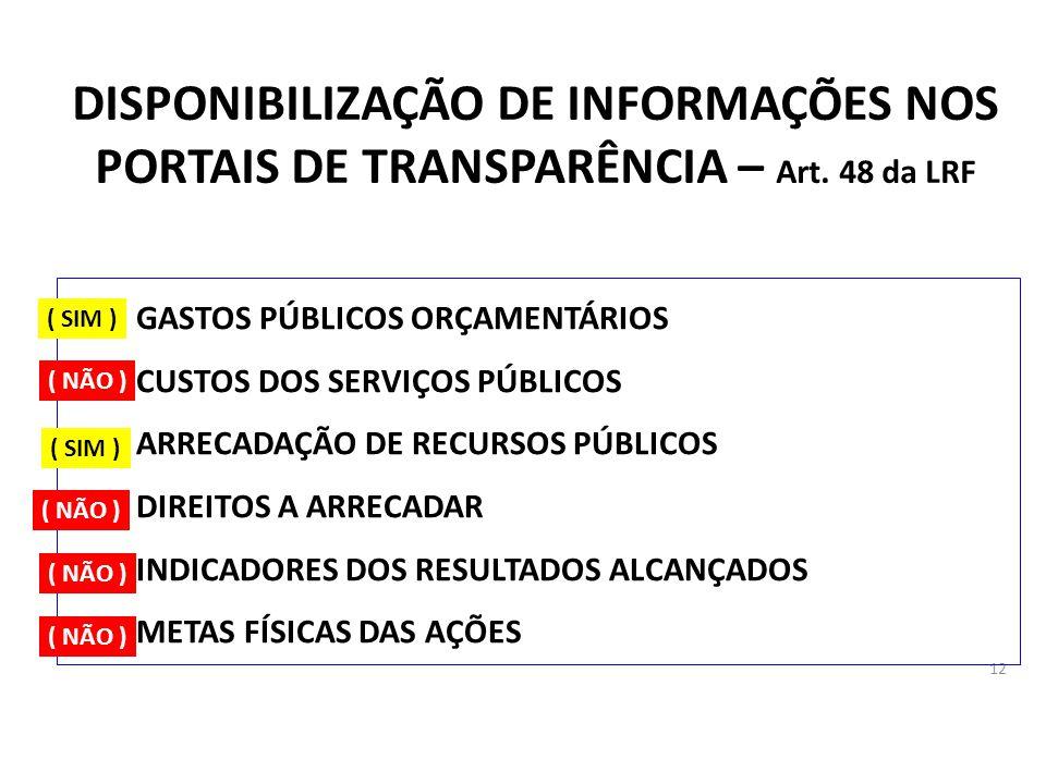 12 DISPONIBILIZAÇÃO DE INFORMAÇÕES NOS PORTAIS DE TRANSPARÊNCIA – Art. 48 da LRF A)GASTOS PÚBLICOS ORÇAMENTÁRIOS B)CUSTOS DOS SERVIÇOS PÚBLICOS C)ARRE