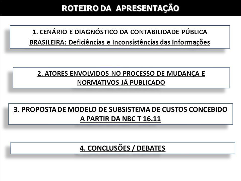 ROTEIRO DA APRESENTAÇÃO 1. CENÁRIO E DIAGNÓSTICO DA CONTABILIDADE PÚBLICA BRASILEIRA: Deficiências e Inconsistências das Informações 2. ATORES ENVOLVI