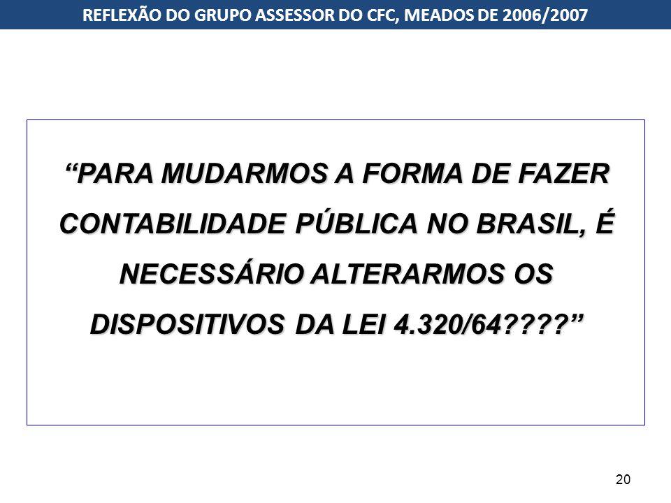 """""""PARA MUDARMOS A FORMA DE FAZER CONTABILIDADE PÚBLICA NO BRASIL, É NECESSÁRIO ALTERARMOS OS DISPOSITIVOS DA LEI 4.320/64????"""" IPSASs (Norma Internacio"""