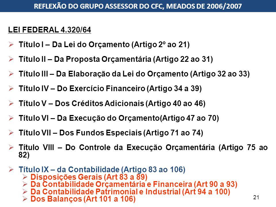 Estrutura da Lei 4.320/1964 LEI FEDERAL 4.320/64  Título I – Da Lei do Orçamento (Artigo 2º ao 21)  Título II – Da Proposta Orçamentária (Artigo 22