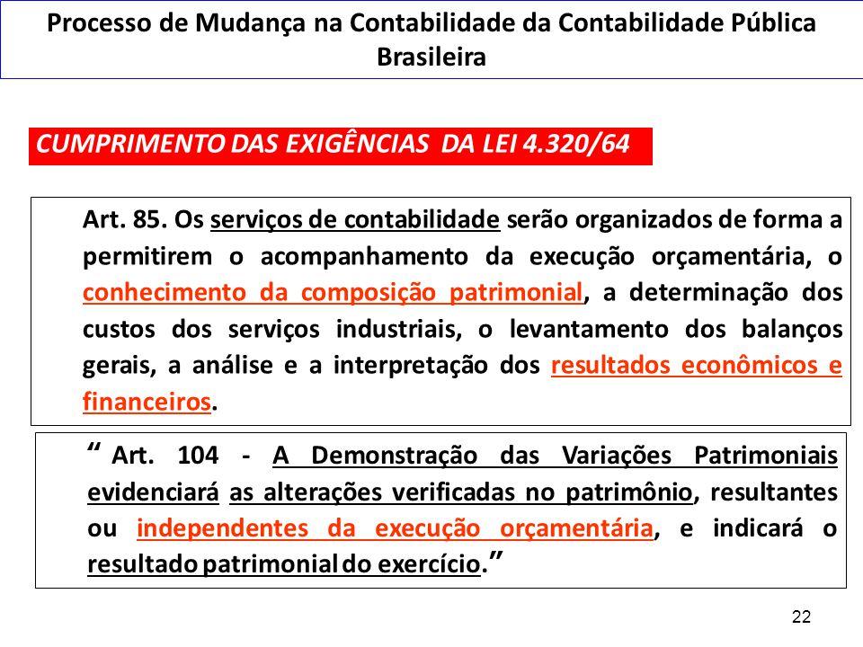 Visão Patrimonial na Lei 4.320/1964 Art. 85. Os serviços de contabilidade serão organizados de forma a permitirem o acompanhamento da execução orçamen
