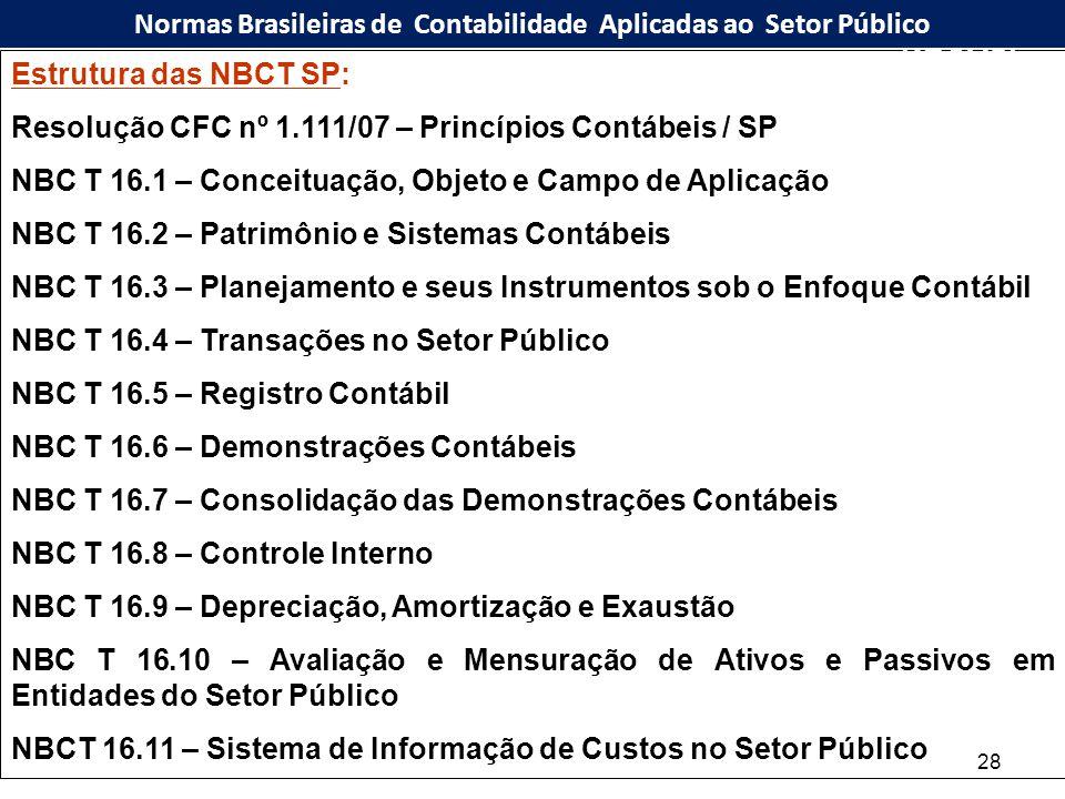 28 Estrutura das NBCT SP: Resolução CFC nº 1.111/07 – Princípios Contábeis / SP NBC T 16.1 – Conceituação, Objeto e Campo de Aplicação NBC T 16.2 – Pa