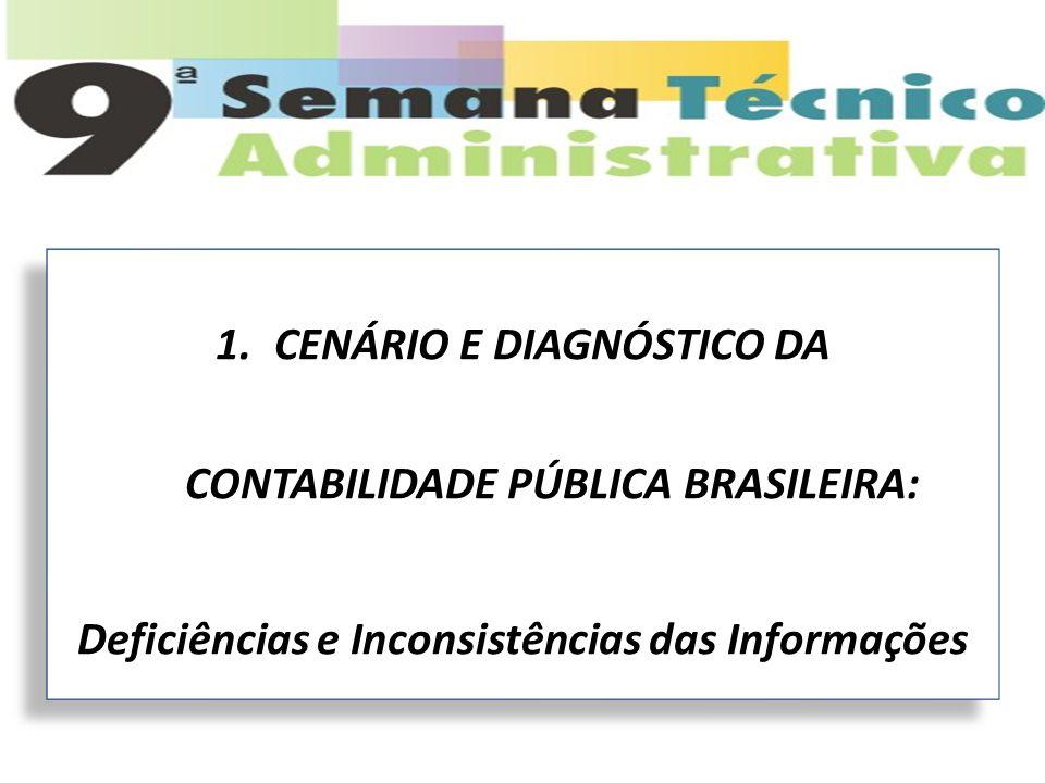1.CENÁRIO E DIAGNÓSTICO DA CONTABILIDADE PÚBLICA BRASILEIRA: Deficiências e Inconsistências das Informações 1.CENÁRIO E DIAGNÓSTICO DA CONTABILIDADE P