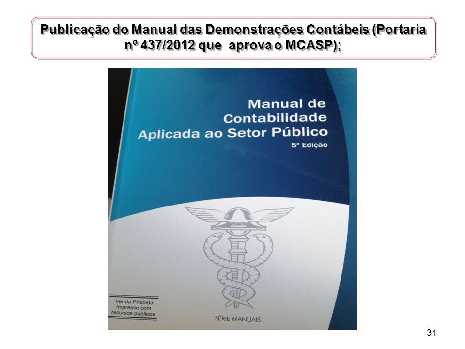 Publicação do Manual das Demonstrações Contábeis (Portaria nº 437/2012 que aprova o MCASP); 31
