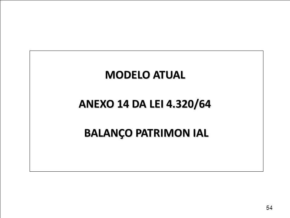 MODELO ATUAL ANEXO 14 DA LEI 4.320/64 BALANÇO PATRIMON IAL 54
